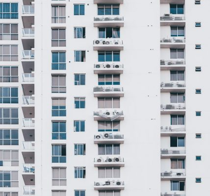 minimalist photography of white and gray condominium